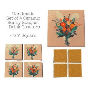 Bunny Bouquet Set of 4 Drink Coasters